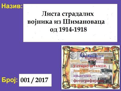 ЛИСТА СТРАДАЛИХ ВОЈНИКА ИЗ ШИМАНОВАЦА ОД 1914.-1918.