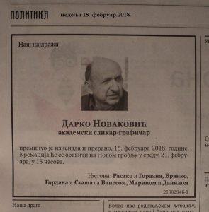 In memoriam Дарко Новаковић (1949-2018)
