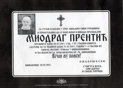 30. март 2020. година - опело Прентић