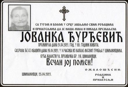 25. април 2021. година - опело Ђурђевић
