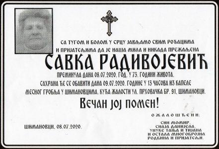08. јули 2021. година - опело Радивојевић